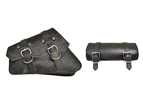 La Rosa Design 04-UP Harley Sportster/Nightster Left claSICK Style Saddle Bag and Tool Bag Combo - Rustic Black