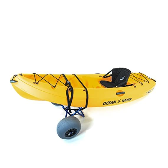 """Challenger outdoors kayak cart carrier dolly with large balloon tires heavy duty blue frame, pump and strap 6 detachable large low pressure 12"""" balloon tires what is included: manual heavy duty air pump & 12-ft cam buckle tie down strap carry your kayak, canoe and more, from your vehicle across the sand, loose gravel and mud"""