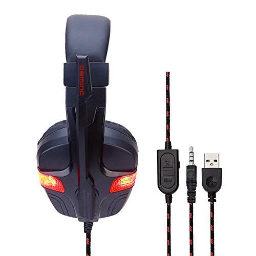 Auriculares de Juego con Cable sobre Auriculares para la Oreja con micrófono Ligero para PC/Mac / PS4 / Switch/Xbox One,Rojo,forPS4