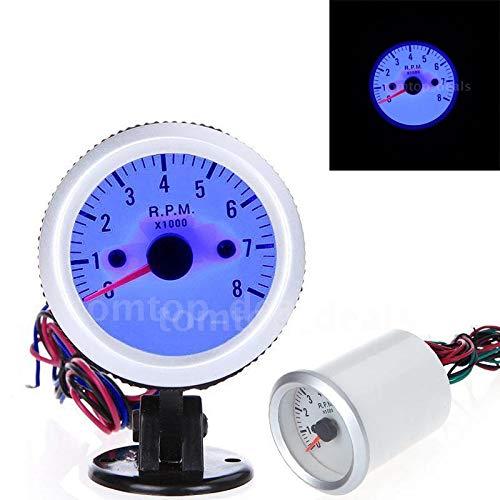 LHQ-HQ Tacómetro del tacómetro con el sostenedor de la Taza for el Coche Auto 2' 52mm 0~8000rpm luz LED Azul