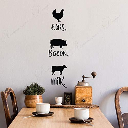 XCSJX Wandtattoos im Bauernstil mit Hühnchen, Schwein und Kuh, Eiern, Speck, Milchwandaufklebern Vinyl-Heimdekorationswandbild 21x85cm