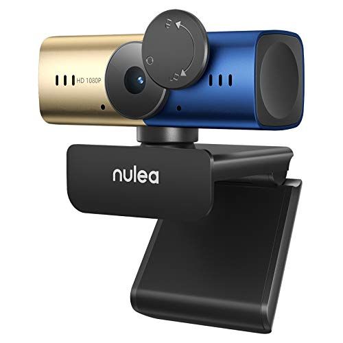 NULAXY C905 Autofocus Webcam with Microphone, Full HD 1080P Webcam with Privacy Cover USB Webcam for PC/Laptop/Desktop Video Conferencing/Calling, Skype/YouTube/Zoom - Gold&Blue