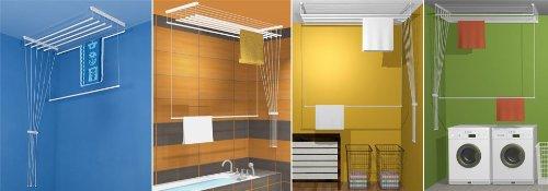 ETEND'MIEUX® étendoir à Linge Suspendu au Plafond 7 Barres 59 cm x 90 cm, capacité d'étendage 6m30