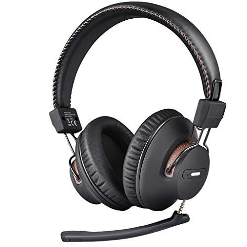 Avantree AS9M Auriculares Bluetooth con micrófono Brazo Desmontable para Llamada telefónica, Ordenador PC Oficina, Voz Clara y Calidad de Sonido HiFi, Extra cómodo y Ligero, 40H