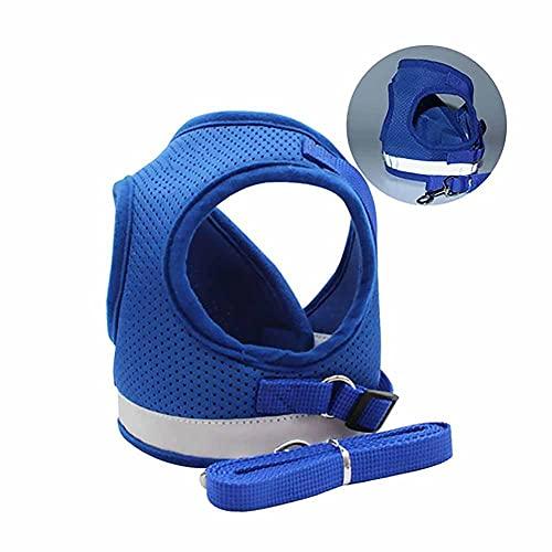 XIAOKUKU ArnéS para Perros, ArnéS del Perro Transpirable Suave Malla Reflectante ArnéS Y Correa del ArnéS para Ajustar PequeñA Mediana Perros Gatos Comfort FormacióN-Azul XL