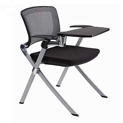 ZWJ-JJ Silla plegable negro acolchado asiento y respaldo, con un multi-función de escritura for la oficina del ordenador Resto Junta (negro) de la tableta del brazo de anidamiento Silla (Color: Negro,