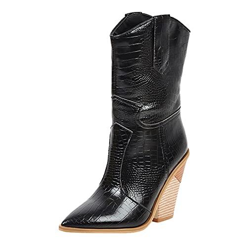 Bottines Cuir Femmes, Chaussures Femme Talons Compense Bottes Caoutchouc Escarpins Talon Moyen Tendance Confortable Bottes Motardes Bottines Mustang