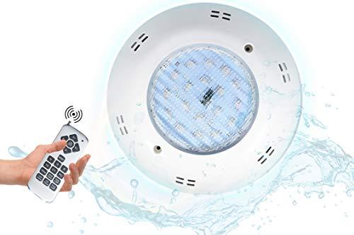 POPP® Foco extraplano para piscina LED RGB AC/DC 12V multicolor para decoracion Control remoto Plastico 18W 36W (RGB, 36 Watios)