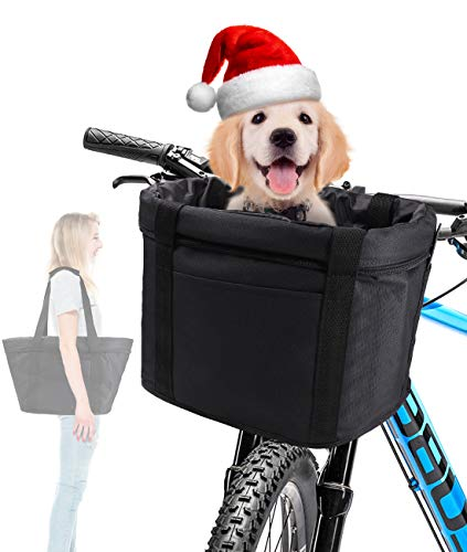 ANZOME Bike Basket, Folding Small Pet Cat Dog Carrier Front Removable...
