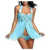 Sexy Pyjama Für Frauen Sex Kleid Frau Nachthemd Langarm Sexy Sexy Schlafanzug Damen Strap Lingerie Dessous Sexy Reizwäsche Set Damen Nachtwäsche (Blau,S)