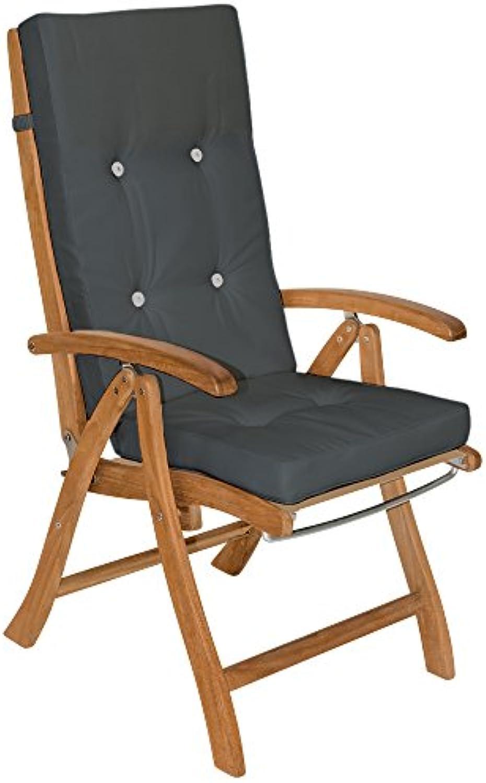 Detex Stuhlauflagen Vanamo  Befestigungsschlaufen 6er Set  Auflage Hochlehner Sitzauflage Stuhlkissen Kissen Anthrazit