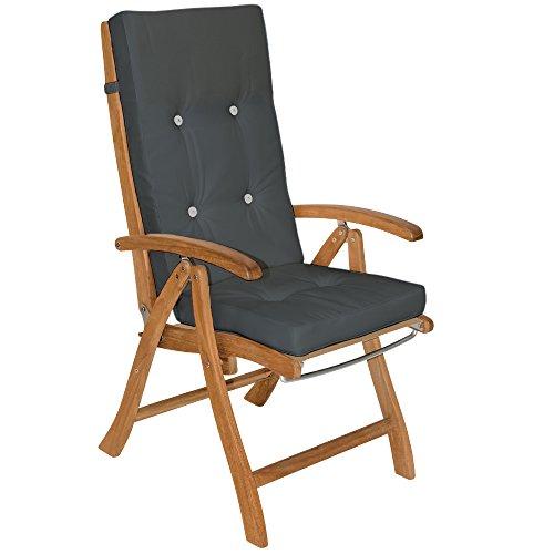 Detex® Stuhlauflagen Vanamo Befestigungsschlaufen 6er Set Auflage Hochlehner Sitzauflage Stuhlkissen Kissen Anthrazit
