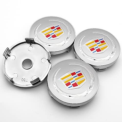 LSQJNDM para Cadillac- Ct4 Ct5 Ct6 Xt4 Xt6 Lyriq Escalade 4pcs 60mm Emblema Centro De Rueda Tapas De Cubo Cubiertas De Insignias Accesorios De Coche