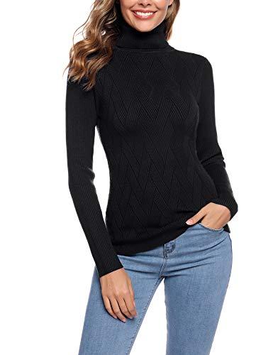 Aibrou Suéter de Cuello Alto para Mujer, Prendas de Punto de Manga Larga elásticas Suaves, livianas y sólidas Jersey con Raya de Diamantes Negro L