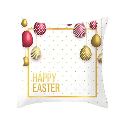 Funda de almohada de franela de Pascua, fundas de cojín cuadradas, fundas de cojín con estampado bonito para sofá, decoración del hogar y la sala de estar, 45 cm x 45 cm