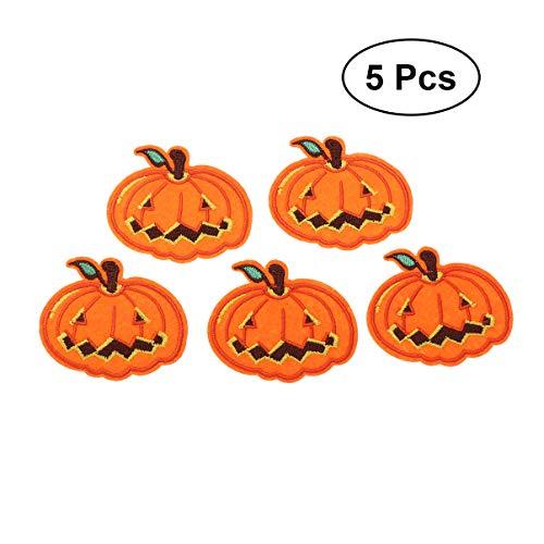 Healifty 5pcs Kürbistuch Patch Halloween gesticktes Tuch nähen Patches für Kleidung Hut Hosen Schal Rucksack
