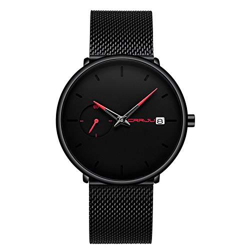 Herren-Armbanduhr Minimalistisch Quarz Analog Datum Schwarz Edelstahl Milanaise-Netzband Rot