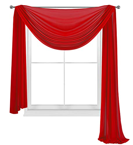 """WPM WORLD PRODUCTS MART Drape/Panels/Scarves/Treatment Beautiful Sheer Voile Window Elegance Curtains Scarf for Bedroom & Kitchen Fully Stitched and Hemmed (Red, 38"""" Inch x 216"""" Inch)"""