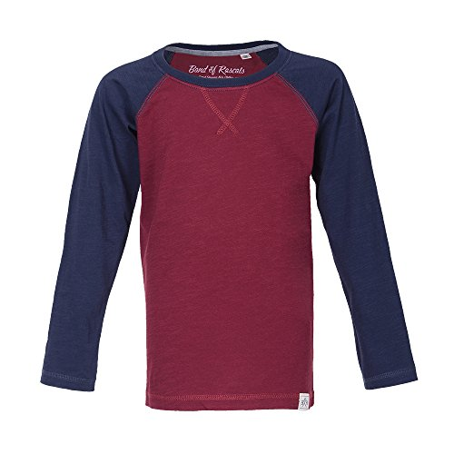 Band of Rascals Kinder T-Shirt Langarm Raglan Bio-Baumwolle (98/104, red-Navy)