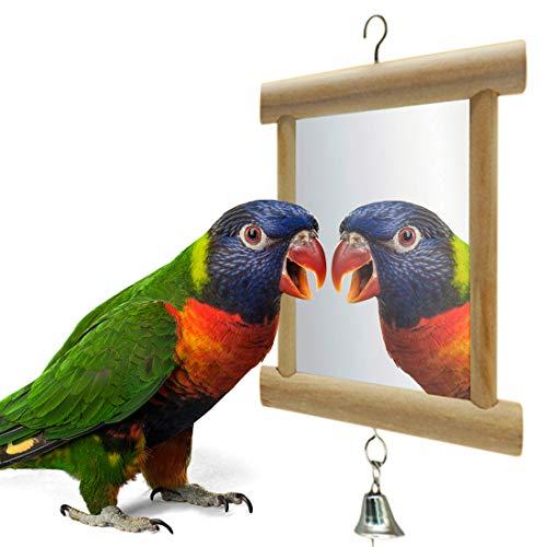 Bird Mirror, Wooden Double Mirror with Bell for Bird, 3.9 * 3.9inch/10 * 10 cm