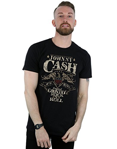 Absolute Cult Johnny Cash Hombre Country Wings Camiseta Negro Large