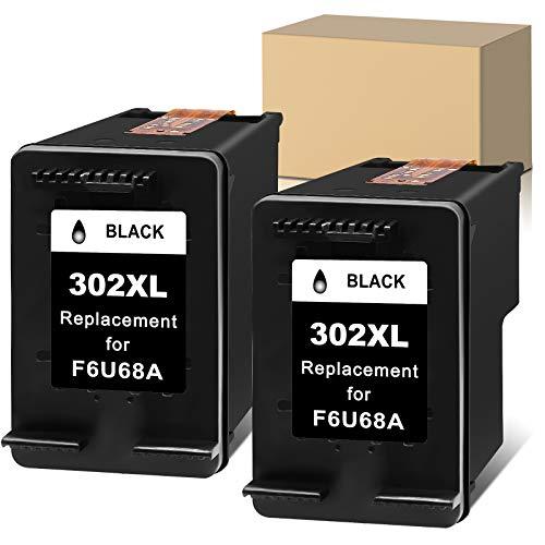 Ersatz-Tintenpatrone für wiederaufbereitete Druckerpatronen für HP 302xl 302 XL zur Verwendung mit Deskjet 1110 2130 Envy 4510 4520 Officejet 3830 4650 5252 5230 Drucker (2 Schwarz)