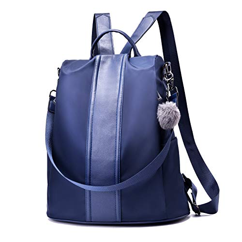 Women Backpack Purse Waterproof Nylon Anti-theft Rucksack Lightweight Shoulder Bag (Blue Large)