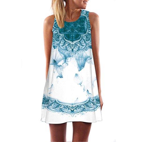 VEMOW Frauen Damen Sommer ärmellose Blume Gedruckt Tank Top Casual Schulter T-Shirt Tops Blusen Beiläufige Bluse(Y2Weiß, 46 DE/XL CN)