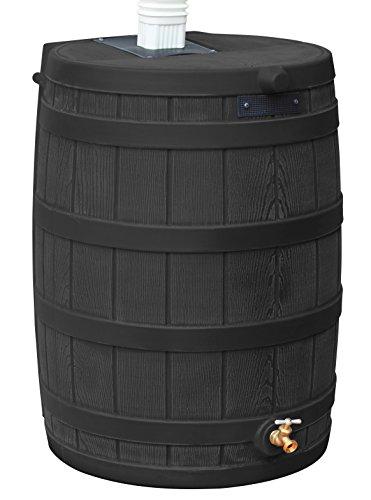 Good Ideas Rain Wizard 50 Gallon Plastic Rain Barrel Water Collector with Brass Spigot, Black