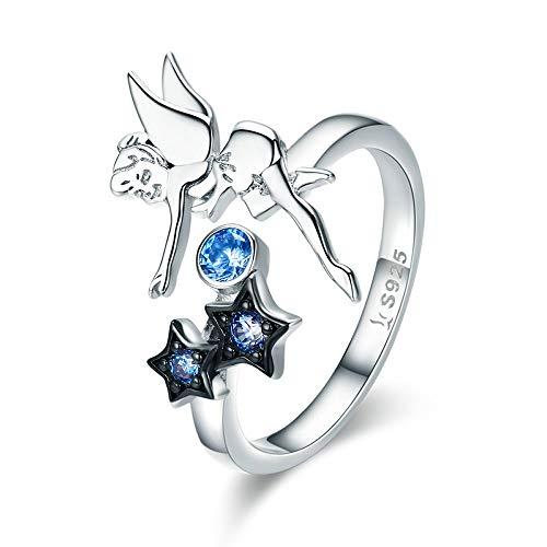 Bijoux Blu Anillo de plata de ley 925 con diseño de hada y estrella luminosa CZ para mujer,...