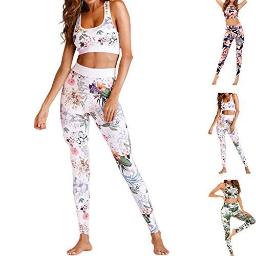 Snaked Cat Damen Sport-Set, Yoga, Fitnessstudio, Blumendruck, 2 Stück Gr. Medium, Weiß/Blumen