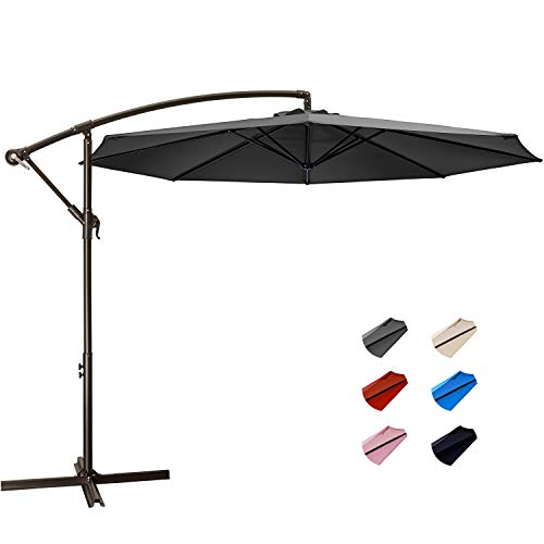 KITADIN Offset Umbrella - 10Ft Cantilever Patio Hanging Umbrella,Outdoor Market Umbrellas with Crank Lift & Cross Base (10 Ft, Grey)
