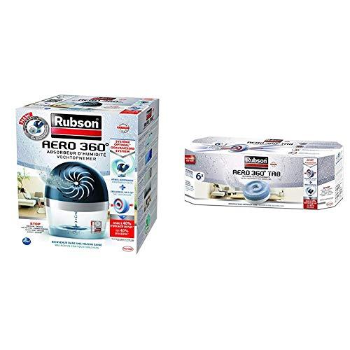 Rubson AERO 360º Déshumidificateur d'Air pour la Maison, Absorbeur d'Humidité et Anti Odeurs pour Pièces de 20 m², avec un lot de 6 recharges Neutres Ultra-Absorbantes de 450 g