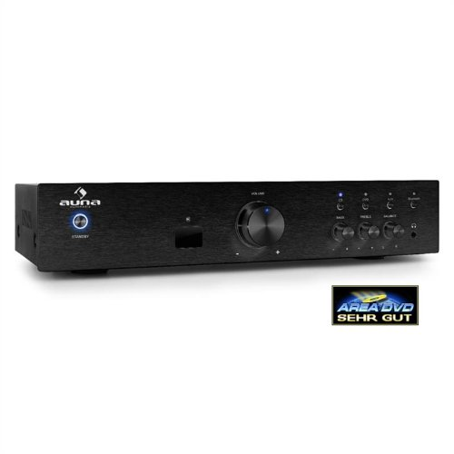 #02 MIGLIOR SCELTA - auna AV2-CD508BT - HiFi , Home Cinema , Amplificatore stereo , Potenza max 600 W , Interfaccia Bluetooth 3.0 , Aux In , 3 ingressi RCA stereo , Telecomando , pannello frontale in acciaio inox , nero