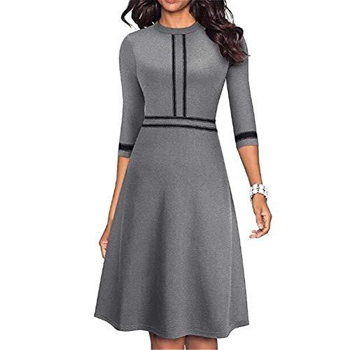 Herbst A-Linie Kleid Rundhalsausschnitt Einfarbig Temperament Damenbekleidung S-3xl