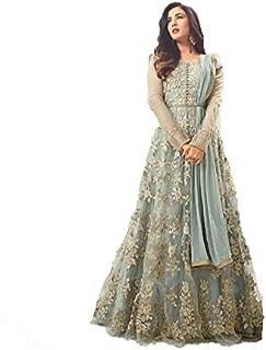 Mahantam Designer Women's Net Semi-Stitched Frock Salwar Suit (PYS364ST27701, Sky Blue, Free Size)