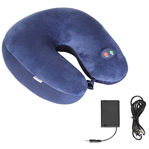Calcifer 1 Stücke U-Form Vibration Nackenmassagekissen, Reise Multi-Funktions-Sechs-Geschwindigkeit einstellbar Halswirbelsäule Granulat Massagekissen, USB-Aufladung (Blau)