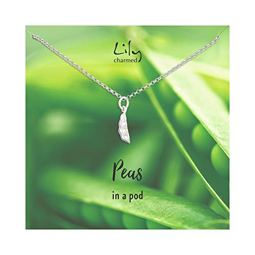 Lily Charmed - Sterling Silver Peapod Necklace with 'Peas in a Pod' Message Card