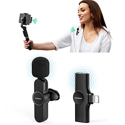 2021 Upgraded Plug-Play Wireless Lavalier Microphone for iPhone iPad, Wireless Lapel Mic for YouTube Video, Live Stream,No Delay Auto-syncs Mic for Vlog,Interview (NO APP or Bluetooth Needed)
