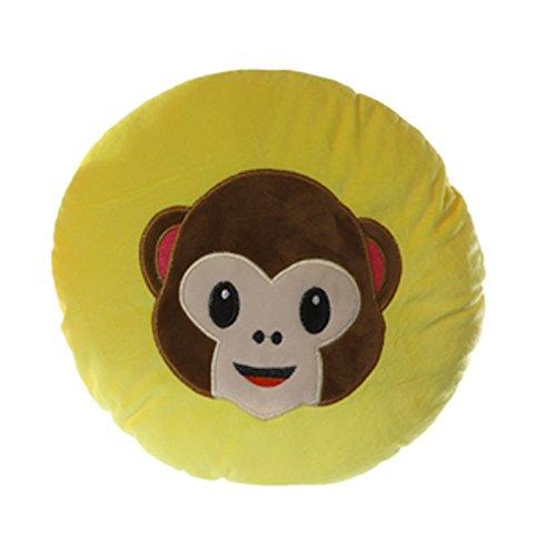 Plüsch Kissen Kuschelkissen Affe 25cm Smiley Emoji Deko Emotion Dekokissen