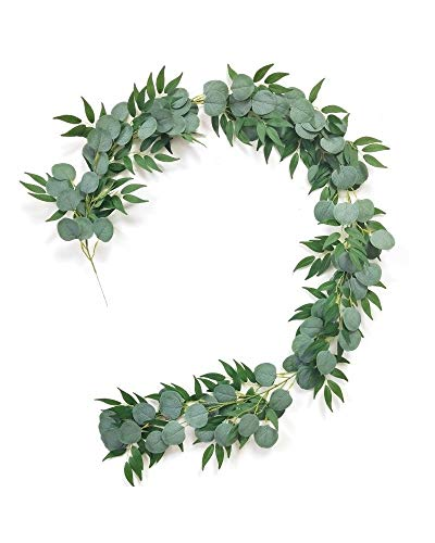 2 Pack Artificial Eucalyptus Willow Vines Garland, 3 Feet Faux Eucalyptus and Willow Leaves Greenery Garland for Wedding Backdrop Wall Flower Décor