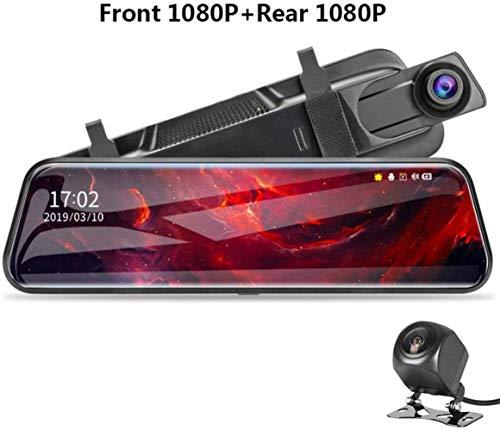 Yunbb dash cam, 10 pollici 1080P dell'automobile DVR un flusso multimediale fotocamera Dash, doppio obiettivo videocamera di backup 1080P specchio,T29s,32GCard
