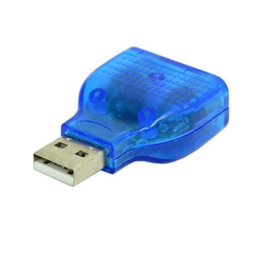 QinKingstore 1個のUSBオス-デュアルPS2メスアダプターコンバーターキーボード用マウスコネクターコンバーターマウスアダプタープラグアンドプレイブルー