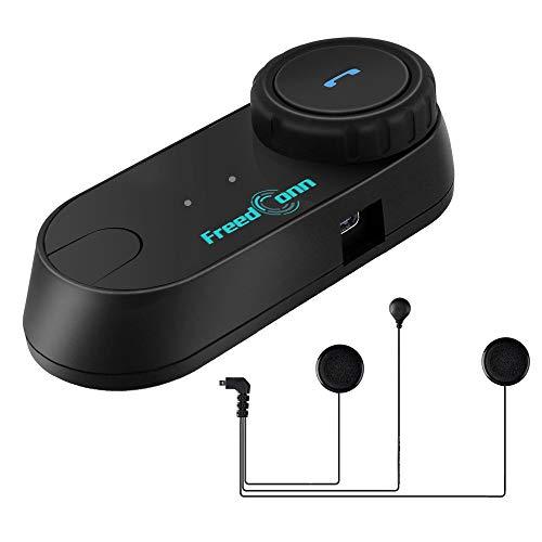 FreedConn Motorrad Intercom Bluetooth Headsets, T-COM VB Motorradhelm Interphone Gegensprechanlage Kommunikationssysteme 2-3 Rider Intercom Kit Mit 800M, GPS, FM Radio (1 Stück mit weichen Kopfhörer)