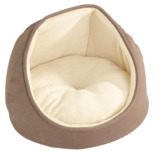 HUNTER Igloo Schlafplatz für Hunde und Katzen, mit Wendekissen, sehr weich, 40 cm, braun/beige