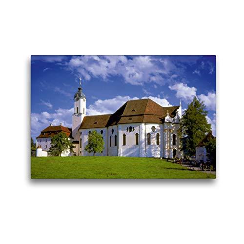 Calvendo Premium Textil-Leinwand 45 cm x 30 cm quer, Wallfahrtskirche Die Wies, Kunstwerk Bayrisches...