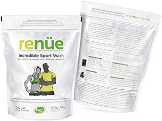 RENUE Incredible Sport Wash - Unscented - 36 Loads - Odour Removing Sport Laundry Detergent for all machine washable Sport Gear including Cotton, Lycra, Spandex, Nylon, Polyester and Wool