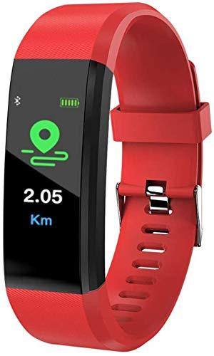 Reloj inteligente con correa extra impermeable para salud y fitness, pantalla táctil HD, pulsera inteligente a todo color, color rojo