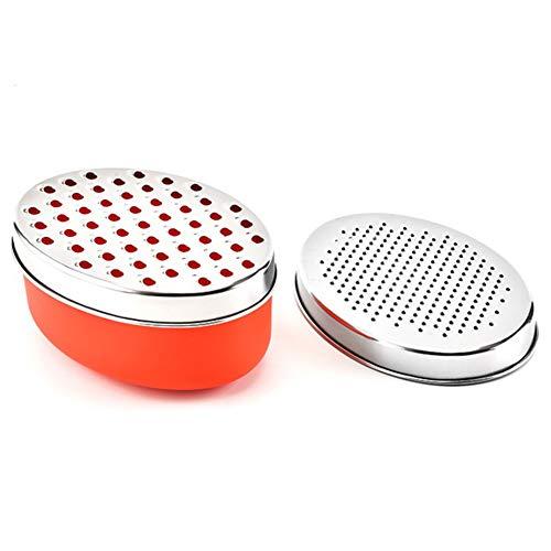 Rallador de queso y verduras con recipiente y tapa, acero inoxidable (rojo)
