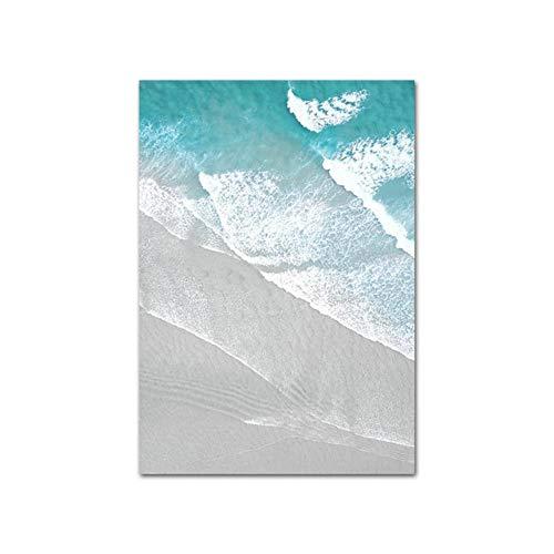 Boot Oceaan golven Overhead foto natuur Scandinavische Poster Scandinavische decoratie zandstrand Bus Print Wall Art Canvas schilderij, foto 5, A4 21 x 30 cm geen Frame